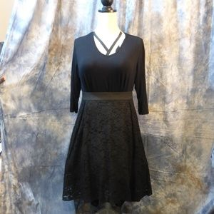 City Chic Black High-Low Lace Skirt XXL/24 NWT